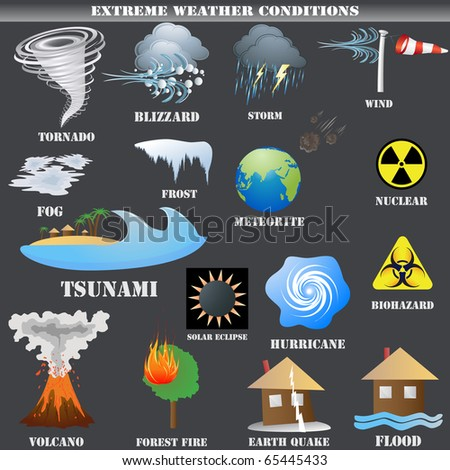 Big Set of Extreme weather conditions isolated on grey - stock photo