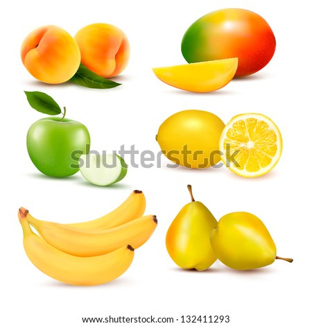 Big set of fresh fruit. Raster version of vector - stock photo