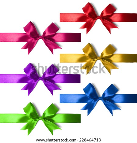 Big set of gift bows with ribbons. Studio shot - stock photo