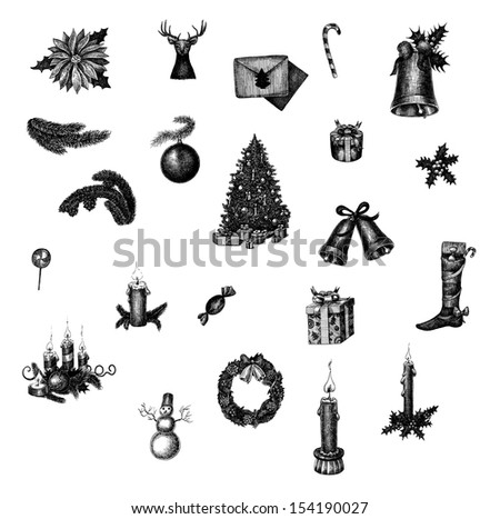 Big set of hand drawn ink Christmas symbols. Raster collection for your design - stock photo