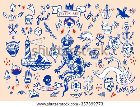 Big set of hand drawn old school tattoo. Cartoon tattoo elements. Raster version - stock photo