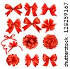 Big set of red gift bows with ribbons. Raster version of vector - stock photo