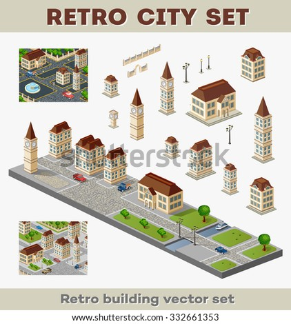 Big set of retro buildings and structures of urban infrastructure. Landscapes and scenery retro style city. - stock photo