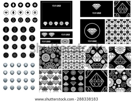Big set of seamless pattern from diamond design elements - stock photo