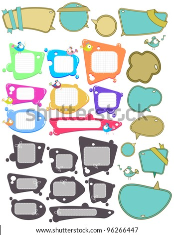 Big set of Speech bubbles, labels with funny birds, place for text, illustration over white - stock photo