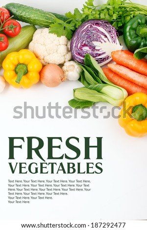 Big set of vegetables. Tasty and wholesome healthy food. Layout with background for text. - stock photo