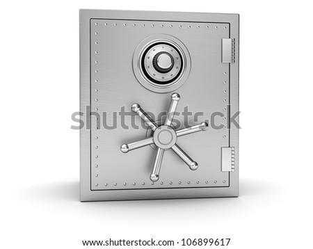 Big silver safe isolated on white background - stock photo