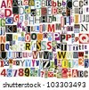 Big size newspaper, magazine alphabet with letters, numbers and symbols. Isolated on white background. - stock photo