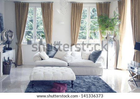 big sofa in classic interior - stock photo