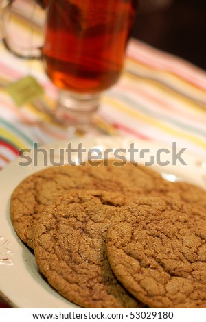 Big Soft Ginger Cookies and Tea - stock photo
