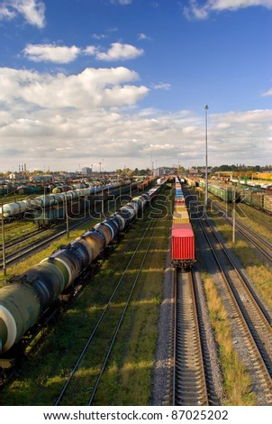 Big sorting station with freight trains in sunny day - stock photo