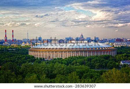 Big sports arena Luzhniki, Moscow, Russia - stock photo