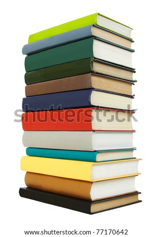 big stack of books in hard cover, view from back, isolated - stock photo