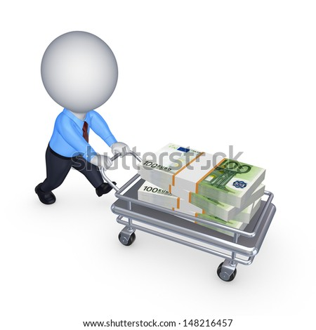 Big stack of dollars on a pushcart.Isolated on white.3d rendered. - stock photo