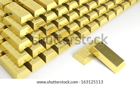 Big stack of gold bars isolated on white - stock photo