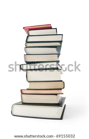 Big stack of old books isolated on white background - stock photo