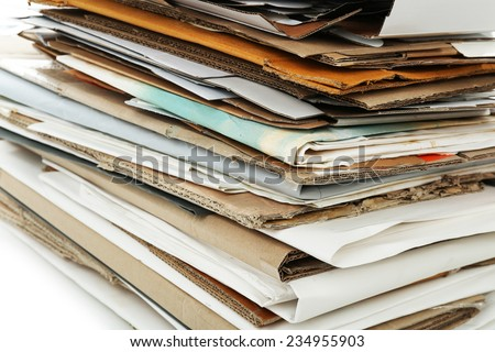 Big stack of papers, close-up - stock photo