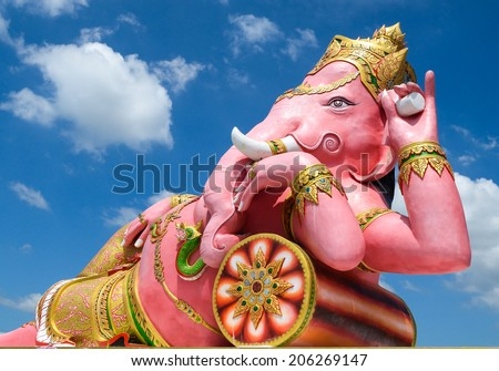 big statue pink Ganesha in  thailand - stock photo