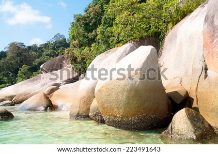 Big Stones Blue Seascape  - stock photo