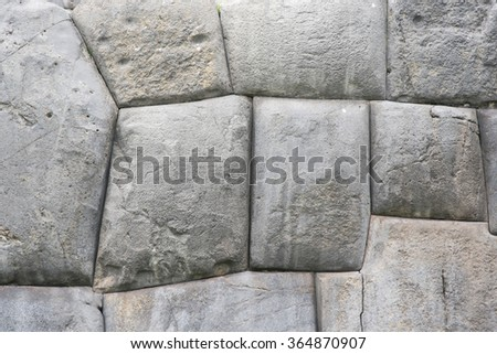 Big stones from ancient ruins in archaeological site in Saqsaywaman Cusco, Peru - stock photo