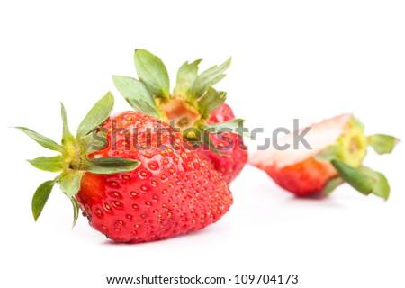 Big strawberry isolated on white - stock photo