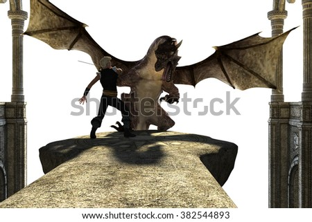 Big strong dragon with wings fighting with a person on a transparent background. The dragon tries to kill the person. 3D Illustration, 3D rendering - stock photo