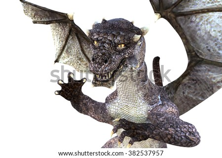 Big strong dragon with wings posing close to the camera on colored background for the image. 3D Illustration, 3D rendering - stock photo
