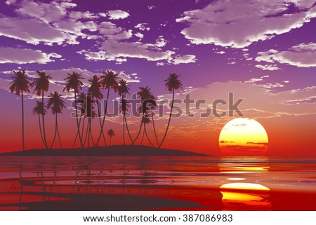 big sun in clouds over purple sunset at tropical sea - stock photo