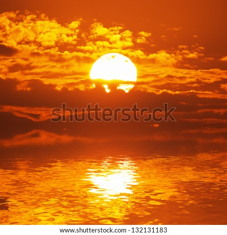 Big sun. Nature composition. - stock photo