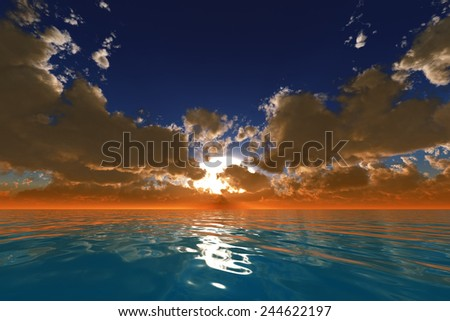 big sun with rays in clouds over calm ocean sunset - stock photo
