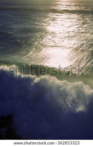 big surf at pacific beach - stock photo