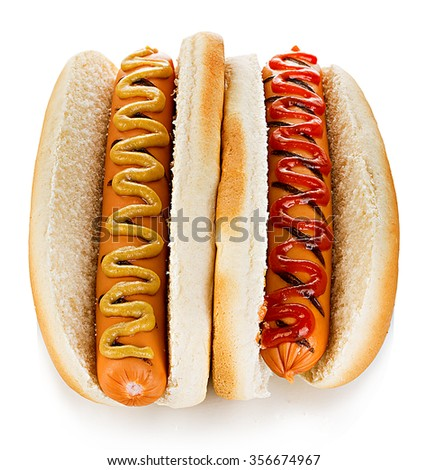 Big tasty appetizing Hot dogs close-up isolated on a white background. Fastfood. - stock photo