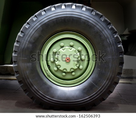 Big tire for heavy transport  - stock photo