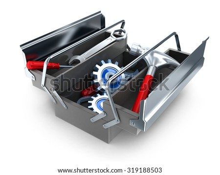 Big toolbox on white  background (done in 3d)    - stock photo