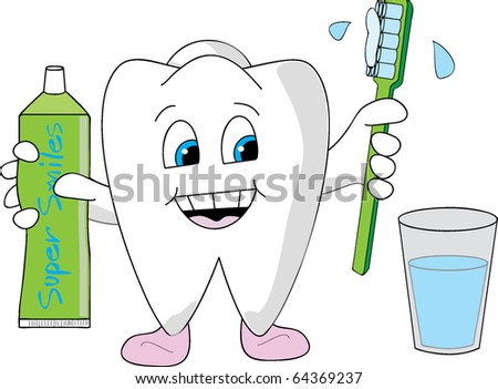 Big tooth with gummy shoes holding a toothbrush and tooth paste - stock photo
