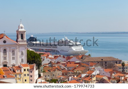 big tourist ship to stand in the port of Lisbon, Portugal - stock photo