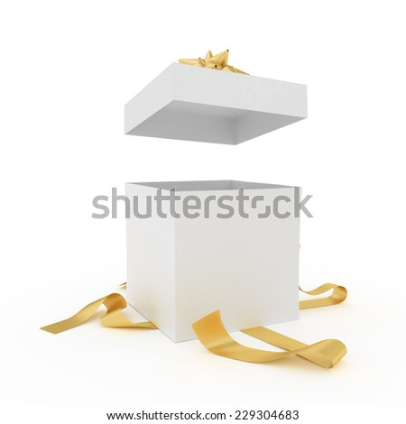 Big unpacked gift box with golden ribbon isolated on white - stock photo