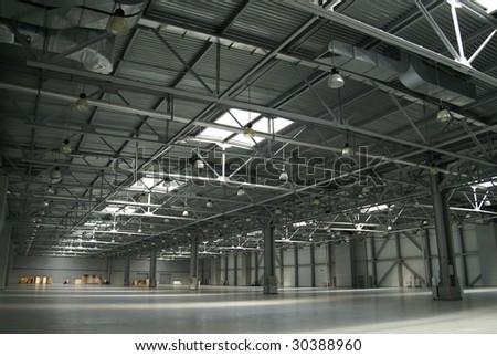 big warehouse - stock photo