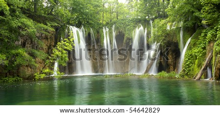 Big waterfall from Plitvice - stock photo