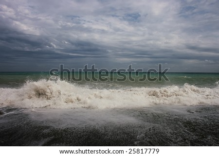 Big wave on black sea - stock photo