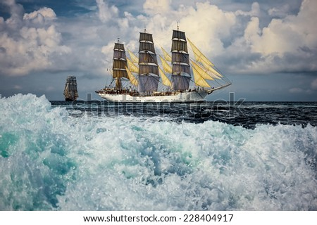 Big wave. Sailing vessel. Large collection of ships and yachts - stock photo