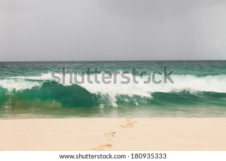 Big waves in rough seas - stock photo