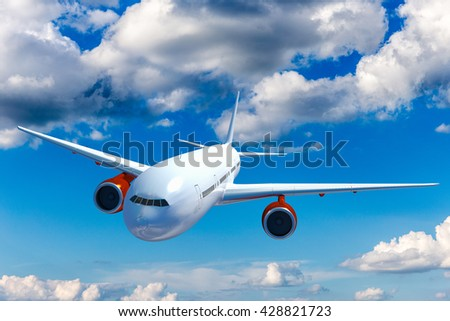Big white airplane above the clouds. Blue sky. - stock photo