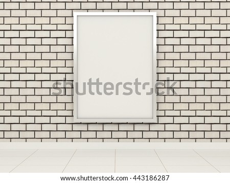 Big white billboard with shiny reflective chrome metal frame on the white brick wall tiles. Advertisement in the subway, transit street shopping center market shop restaurant premises. 3d illustration - stock photo