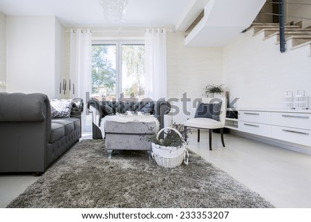 Big white living room with grey sofas - stock photo