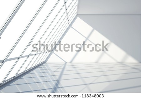 big white window with sunny room - stock photo