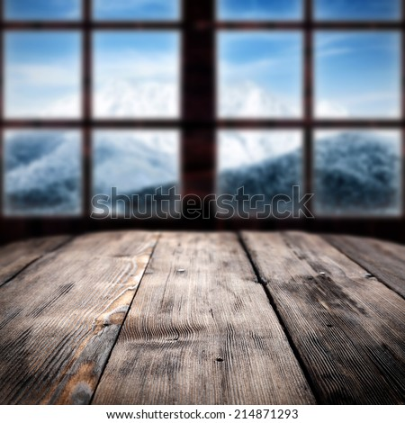 big window and big table  - stock photo