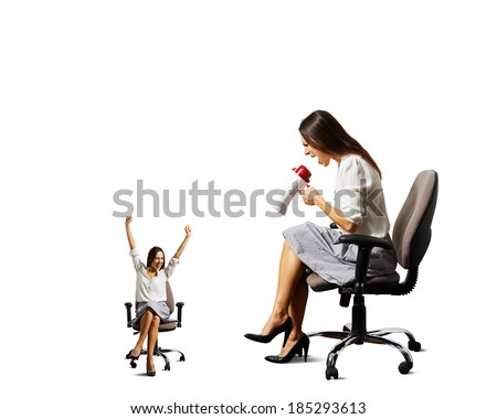 big woman and small happy woman over white background - stock photo