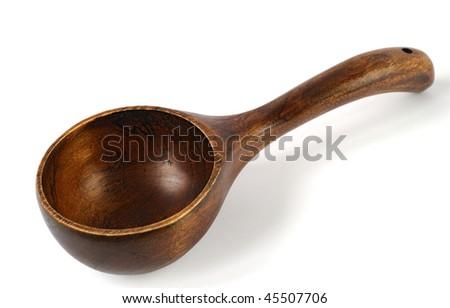 Big wooden spoon - stock photo