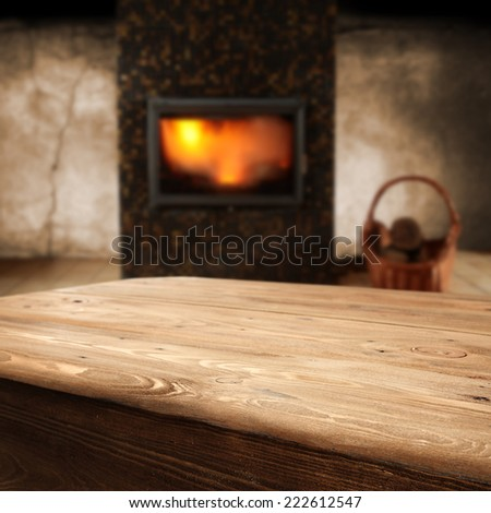 big wooden table  - stock photo